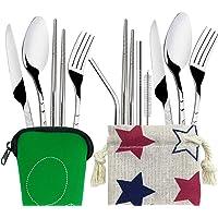 2 ensembles (11 pcs) de couverts,FineGood pailles de baguettes de cuillère de fourchette de couteau d'acier inoxydable…