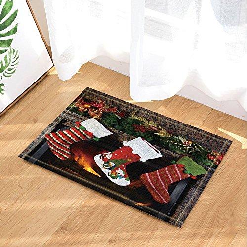 cdhbh Xmas Decor Weihnachten Socken auf Kamin Geschenk zu Kids Bad Teppiche rutschhemmend Fußmatte Boden Eingänge Innen vorne Fußmatte Kinder Badematte 39,9x 59,9cm Badezimmer Zubehör -