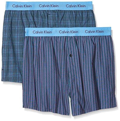 Calvin Klein Herren Hüft-Shorts 2p Boxer Wvn Slim Fit, 2er Pack, Blau (Turin Stripe Blue Star / Cambridge Plaid Trv), Small (Boxer Calvin)