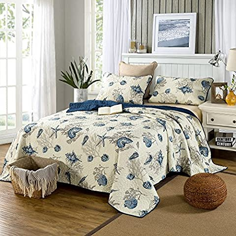 Beddingleer King Size Blue Shell Tread Design Cotton Quilted Patchwork Quilted Bedspread Set Printed Vintage Collection Handmade Bedding Quilt/Sham 3-Piece (Quilt