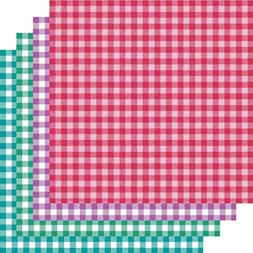Buffalo Plaid Vinyl, selbstklebend, Büffelkaro, Muster, Vinyl, Pink/Blau/Grün/Violett, 10,2 x 30,5 cm Pink Plaid Checker