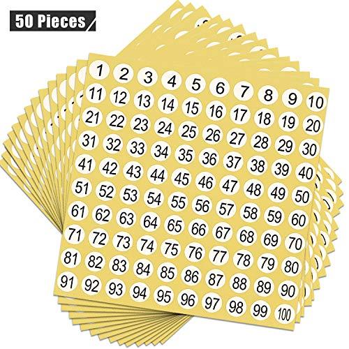 50 Blatt Zahlen Aufkleber 1 bis ...