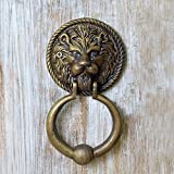 #4: Casa Decor Handmade Authentic Foundry Lion Head Decorative Antique Look Brass Finish - Door Decor