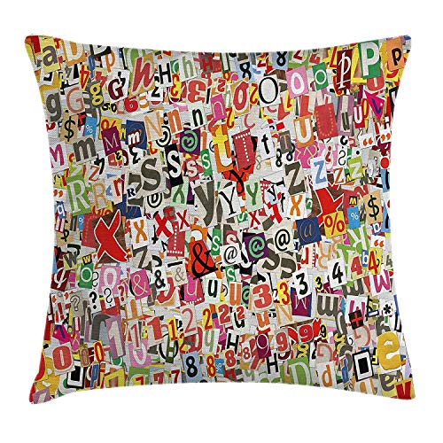 WITHY Old Newspaper Decor Throw Pillow Cushion Cover, Various Kinds of Newpaper Magazine Letters Cutouts Alphabet Collection, Decorative Square Accent Pillow Case, 18 X 18 Inches, Multicolor
