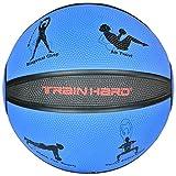 TrainHard Medizinball Gewichtsball 1kg 2kg 3kg 4kg 5kg 6 kg 7kg 8kg 9kg 10kg 12kg aus hochwertigem Gummi, Rutschfest, Studioqualität, optional: Medizinbälle Ständer für 10 Bälle (4 kg)