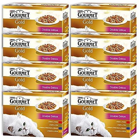 Gourmet Gold Double Délice Repas pour chat adulte 4 Saveurs 12 x 85 g - Lot de 8 (96 sachets fraîcheurs)