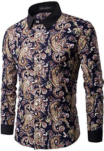 jeansian Uomo Moda Piccola Retro Gotico Stampa Casual Camicia Slim Men Shirts 84M3 Multicolor M