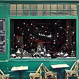 HENGSONG Weihnachtsdeko, Weihnachten Removable Vinyl Fensterbilder Weihnachtssticker Weihnachten Wandaufkleber Wandtattoo Wandsticker, Schneeflocke Stadt