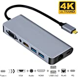 USB C Hub Ethernet, Samsung Dex Station USB C to HDMI VGA Adapter for Galaxy Note 9/8/S9/S8, Compatible With Macbook/MacBook Pro, Samsung Dex HDMI Adapter (Sky Grey)