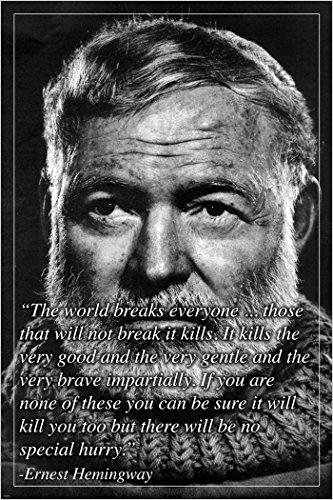 Ernest Hemingway bekannt Autor Foto Zitat Motivational Poster 24x 36NEU (Motivational Poster 24x36)