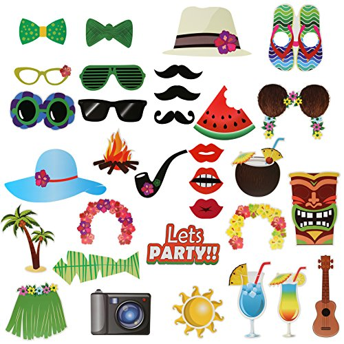 Kesote 32 Piezas Photocall en Stile de Hawaii Accesorios de Fotos de Papel Selfie Accesorios Decoración para Bodas, Fiestas de Graduación, Fiestas Navideñas o en Playa