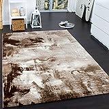 PHC Teppich Modern Designer Teppich Leinwand Optik Meliert Braun Beige Creme Meliert, Grösse:80x150 cm