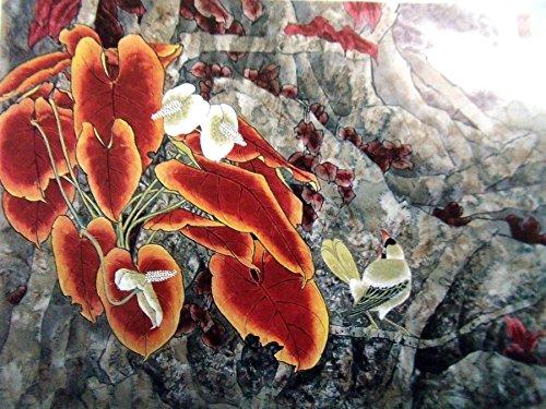 Kunstblumen Anthurium andraeanum Linden Ölgemälde reprodution. basiert auf berühmten traditionellen chinesischen Realistische Malerei. (ungerahmt und ungedehnt).