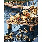 Guume Rahmenlose Acrylbild Hunde Tiere DIY Malen Nach Zahlen Moderne Wandkunst Leinwand Gemälde Für Einzigartiges Geschenk Kunstwerk 40X50 cm