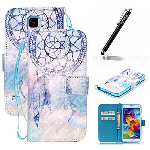 Copertura per Samsung Galaxy S5 in pelle, Samsung Galaxy S5 Custodia Portafoglio, S5 Case Cover, Ukayfe blue Wave-this iphone is locked Design dellunità di elaborazione di vibrazione del cuoio di pro blu-Fantasy Campanula