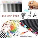 Momola 20estilos color marcadores acuarela suave Flexible, punta de pincel pinceles + 1pcs agua cepillo Set