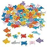 100 x Filz Unterwasserwelt Wackelaugen Fische Schildkröten Delfine Krebse Haie Aufkleber Sticker Mitgebsel