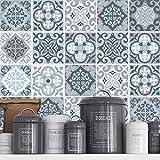 Adhesivos para Azulejos - Paquetes con 32 (15 x 15 cm, Azulejos Vintage | Azul Gris | Vinilos Decorativos | Adhesivos para Pared | Decoración de Inter