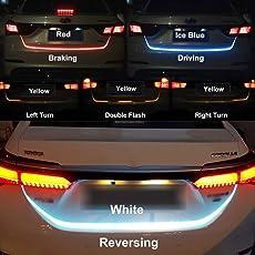 DELHITRADERSS Streamer Brake Turn Signal Flow LED Strip Trunk Light (Triple Color) for Universal Car Model