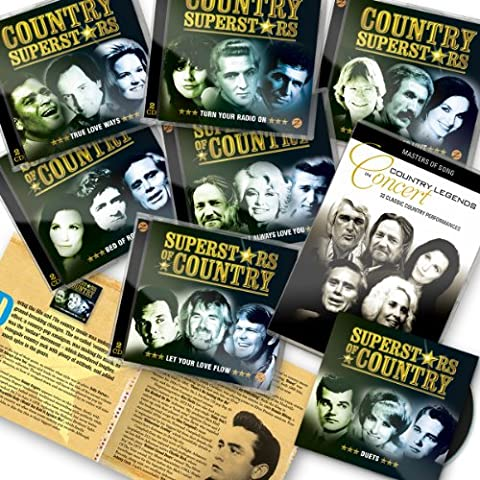 Superstars Of Country Deluxe 12 CDs Set by Zestify (2013 International Edition) - 12 CDs + Bonus CD + Free 2 DVD set + Bonus Booklet