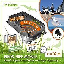 ISOTRONIC dispositivi di allontanamento uccelli a batteria a ultrasuoni saccia piccioni per balconi finestre e alberi da frutta anche per allontanare da automobili e giardini confezione da 3