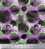 Soimoi Lila Viskose Chiffon Stoff Pinselstrich & dots