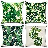 MIULEE Lot de 4 Housse Coussin de Canapé Polyester Impression Feuilles de Plantes Tropicales Decoration Canapé Maison Chambre Lit Taie d'oreiller 18x18 Pouces 45X45cm