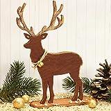 Stehfigur Set Hirsch Holz 2er Set Weihnachtshirsch Pappelsperrholz 19 cm hoch Holzdeko Deko Hirsch Rehbock für Weihnachten Weihnachtstischdekoration Weihnachtsdeko Dekoration Hirsch Figur | 429710 - 3
