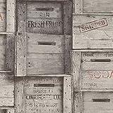 BHF fd22349'caisses en bois recyclé' Papier peint-Gris