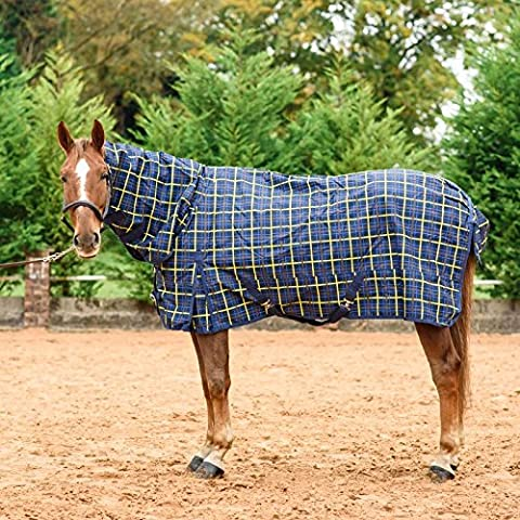 Cavallo Bianco equestrain Combo – Tappeto Plaid traspirante protettiva per cavalli turnout 100 g/200 g, Yellow Plaid, 100G UK 7'3 / EU 165cm / 87