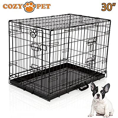 "Cozy Pet Dog Cages in 5 Sizes 24"", 30"", 36"", 42"" & 48"" Beige, Black, Blue, Green, Pink & Silver with High Quality Metal Trays Dog Crate Puppy Cage Cat Carrier"