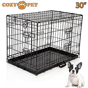 Cozy Pet Deluxe Cage pliante en métal avec 2 portes pour Chiot, Chien Caisse avec plateau métallique, Caisses, Cages en Noir Taille 76cm