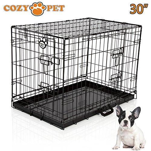 "Cozy Pet Dog Cage 30"" Black Metal Tray Folding Puppy Crate Cat Carrier Dog Crate DC30B. (We do not ship to Northern Ireland, Scottish Highlands & Islands, Channel Islands, IOM or IOW.)"
