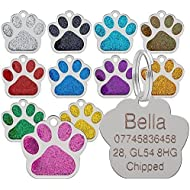 Personalised Engraved ID Pet Tags Glitter Paw Design Quality 27mm Dog Tags - Engraved Free (Pink)