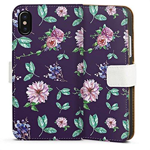 Apple iPhone 8 Silikon Hülle Case Schutzhülle Blumen Muster Herbst Sideflip Tasche weiß