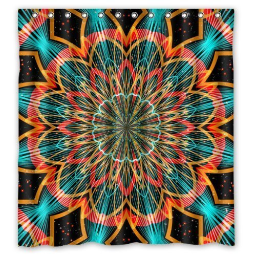 HomeFamily Creative Home Ideas Colorful Psychedelic Trippy Flower Art Fabric Bathroom Shower Curtain With Hooks 66