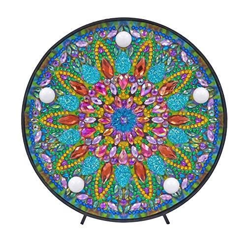 JUNERAIN DIY Mandala LED Pintura Diamante Pintura Caja de luz Punto de Cruz Bordado lámpara