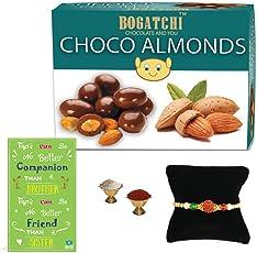 BOGATCHI Premium Rakhi Gift Hamper for Brother, Chocolate Coated Almonds, 200g + Free Rakhi Greeting Card + Free Rakhi + Roli Chawal