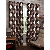 Homefab India 2 Piece Eyelet Polyester Door Curtains - 7ft, Brown