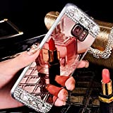 Diamante–Carcasa para Galaxy S8, espejo funda para Galaxy S8, leeook lujo elegante Bling Cristal Brillante Glitter Diamantes Purpurina Makeup espejo efecto transparenten marco ultra delgada Flex Soft Suave Silicona Goma cáscara de protección Funda TPU Gel Rigid Bumper Back Cover para für Samsung Galaxy S8+ 1x negro stylet-or