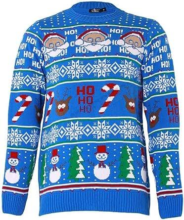 SHINE Original Pingo Men's Christmas Jumper Knit Fun Pullover with Crew Neck (HO HO ans Snow Man Aztec-Blue, S)