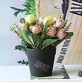 GSYLOL 1 Satz Künstliche Blume Rose Gefälschte Blumen Topf Bonsai Für Hochzeit Home Party Dekorative 6 Farben B3106A, Champagner