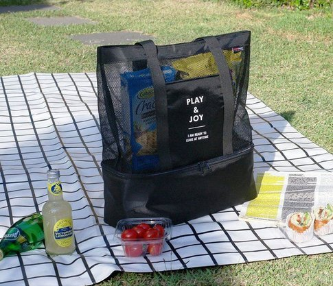 Doppia picnic lunch bag Outdoor Cold Storage double layer griglia Ice Pack, Tessuto Oxford, Green, medium Black