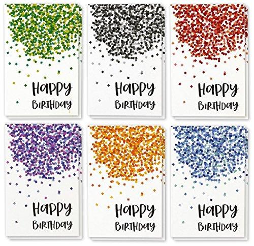 Best Papier Grüße Happy Birthday Note Karten Grußkarten Bulk Box Set–6Falling Konfetti Designs–Rot, Blau, Grün, Orange, Violett, Schwarz–Innen blanko,–Beinhaltet 48Karten mit Umschlägen–10,2x 15,2cm