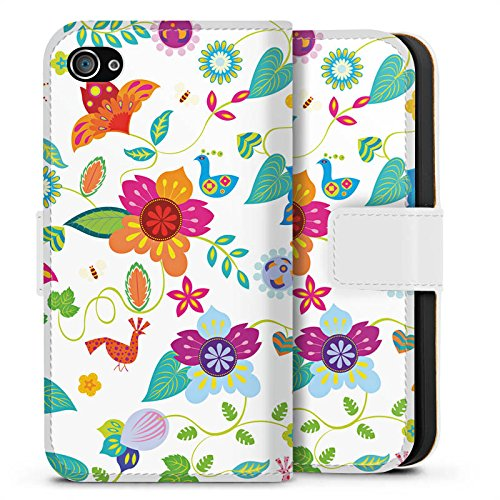 Apple iPhone X Silikon Hülle Case Schutzhülle Bunt Blumen Muster Sideflip Tasche weiß