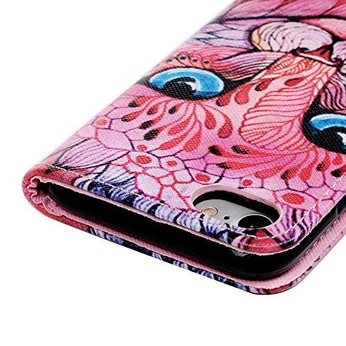 Badalink Hülle für iPhone 7 / iPhone 8 Buntes Clutter Skelett Handyhülle Leder PU Case Magnet Flip Case Schutzhülle Kartensteckplätzen und Ständer Handytasche mit Eingabestifte und Staubschutz Stecker Roter Wolf