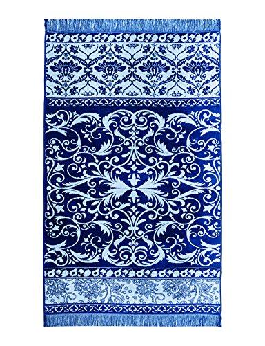 Lashuma Strandtuch Marocco, 100 x 180 cm Velours Badetuch, Strandlaken Blau Ornamenten, Badelaken 100% Baumwolle
