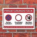 Schild Privatgrundstück Betreten verboten Durchfahrt Parken verboten Alu-Verbund 600 x 400 mm