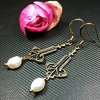 Ohrringe Perlen Art Deco Jugendstil Vintage vergoldet