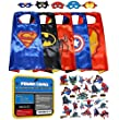 Power Capes: The ONLY Set of 5 Superhero Costumes with Felt Masks. Perfect for Dressing Up, Pretend Play and Parties. FREE Comic sticker sheets included.